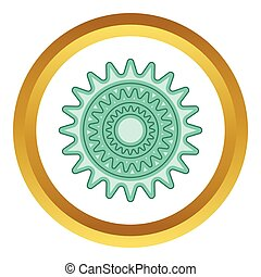 Bicycle sprocket vector icon in golden circle, cartoon style...