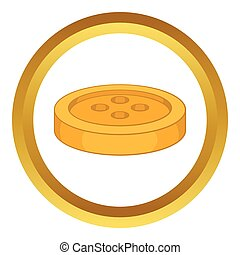 Sewing button vector icon in golden circle, cartoon style...
