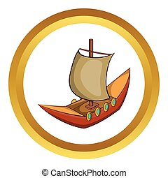 Viking ship vector icon
