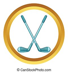 Golf clubs vector icon in golden circle, cartoon style...