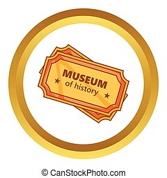Tickets to the Museum of History vector icon in golden...