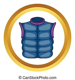 Winter quilted waistcoat vector icon in golden circle,...