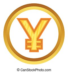 Japanese yen vector icon in golden circle, cartoon style...