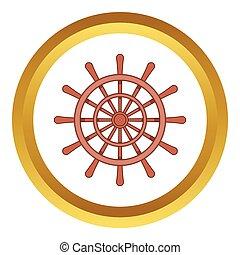Wooden ship wheel vector icon