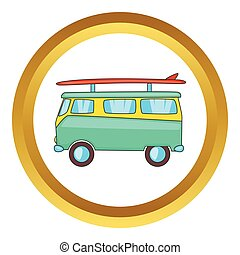 Bus with surfboard vector icon in golden circle, cartoon...