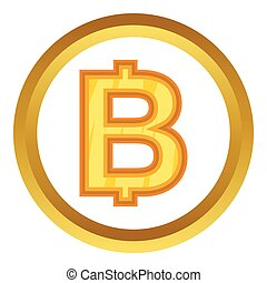 Thailand baht vector icon in golden circle, cartoon style...