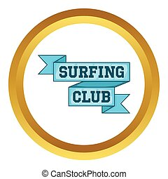 Surf club emblem vector icon