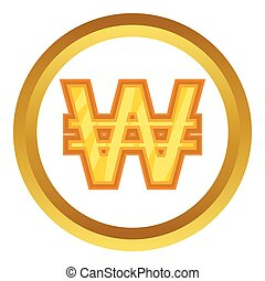 Korean won vector icon in golden circle, cartoon style...