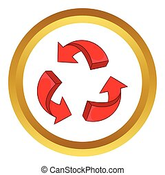 Red arrow recycling vector icon