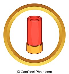 Shotgun shell vector icon in golden circle, cartoon style...