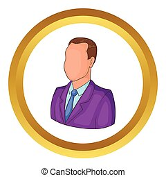 Businessman or manager vector icon in golden circle, cartoon...