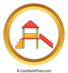 Playhouse with slide vector icon