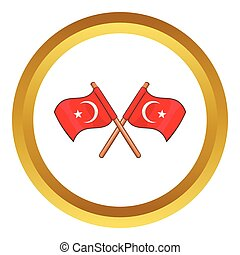 Turkey crossed flags vector icon