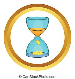 Hourglass, time is money vector icon
