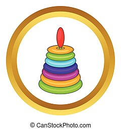 Children pyramid toy vector icon in golden circle, cartoon...