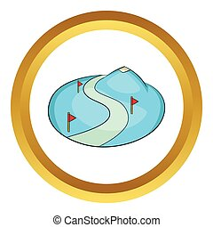 Ski slope of the snow mountain vector icon in golden circle,...