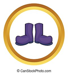 Rubber boots vector icon in golden circle, cartoon style...