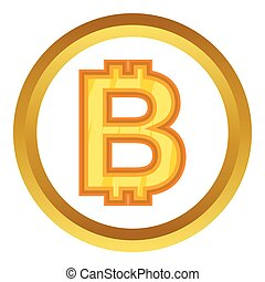 Thai baht vector icon in golden circle, cartoon style...
