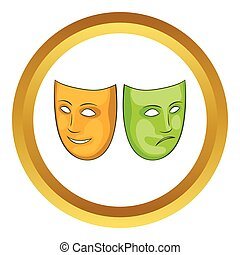 Happy and sad mask vector icon in golden circle, cartoon...