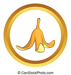 Banana peel vector icon in golden circle, cartoon style...