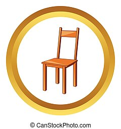 Wooden chair vector icon in golden circle, cartoon style...