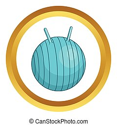 Children fitball vector icon in golden circle, cartoon style...
