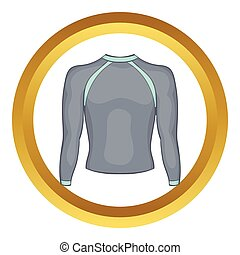 Pullover vector icon in golden circle, cartoon style...