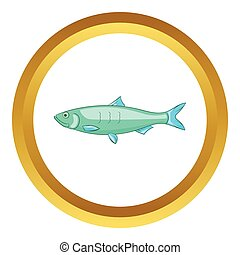 Baltic herring vector icon in golden circle, cartoon style...
