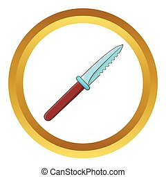 Steel knife vector icon in golden circle, cartoon style...