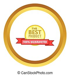 The best product vector icon in golden circle, cartoon style...
