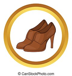 Womens shoes on platform vector icon in golden circle,...