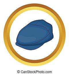 Cap driver vector icon in golden circle, cartoon style...