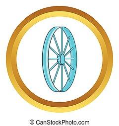 Bicycle wheel symbol vector icon in golden circle, cartoon...