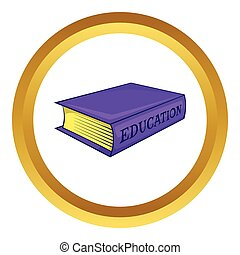 Education book vector icon in golden circle, cartoon style...