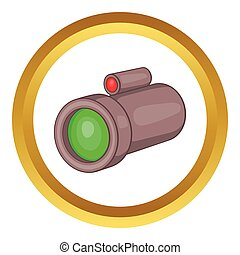 Sniper rifle telescope vector icon
