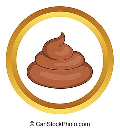 Piece of turd vector icon in golden circle, cartoon style...