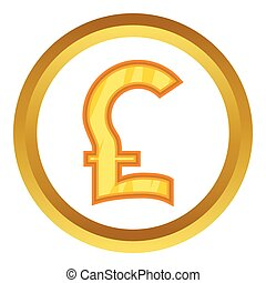 Pound sterling vector icon in golden circle, cartoon style...
