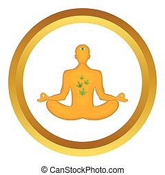 Man in lotus position vector icon