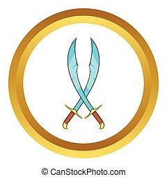 Crossed scimitars vector icon in golden circle, cartoon...