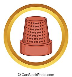 Thimble vector icon in golden circle, cartoon style isolated...