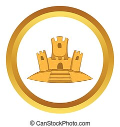 Sand castle vector icon in golden circle, cartoon style...