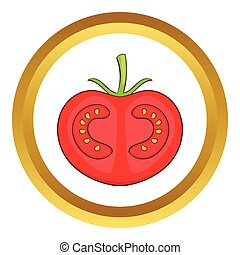 Fresh red tomato vector icon in golden circle, cartoon style...