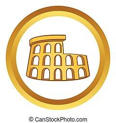 Roman Coliseum vector icon in golden circle, cartoon style...