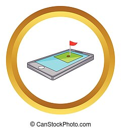 Golf course on phone vector icon