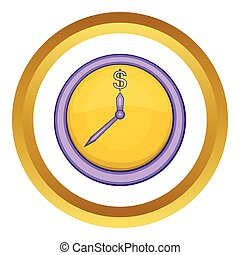 Wall clock with dollar symbol vector icon