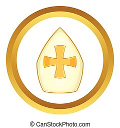 Pope hat vector icon in golden circle, cartoon style...