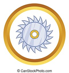Circular saw blade vector icon in golden circle, cartoon...