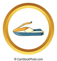 Jet ski vector icon in golden circle, cartoon style isolated...