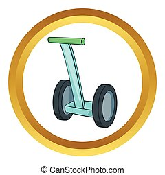 Segway vector icon in golden circle, cartoon style isolated...