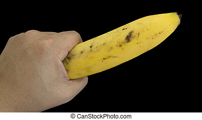 banana fruit hand body part hold concept - banana fruit hand...